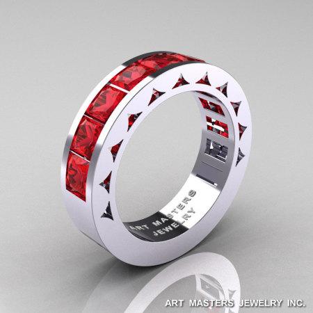Mens Modern 14K White Gold Princess Rubies Channel Cluster Sun Wedding Ring R274-14WGR-1