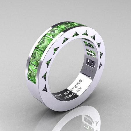 Mens Modern 14K White Gold Princess Green Topaz Channel Cluster Sun Wedding Ring R274-14WGGT-1