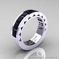 Mens Modern 14K White Gold Princess Black Diamond Channel Cluster Sun Wedding Ring R274-14WGBD-1