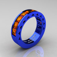 Mens Modern Italian 14K Blue Gold Princess Orange Sapphire Channel Cluster Sun Wedding Ring R274-14BLOS-1