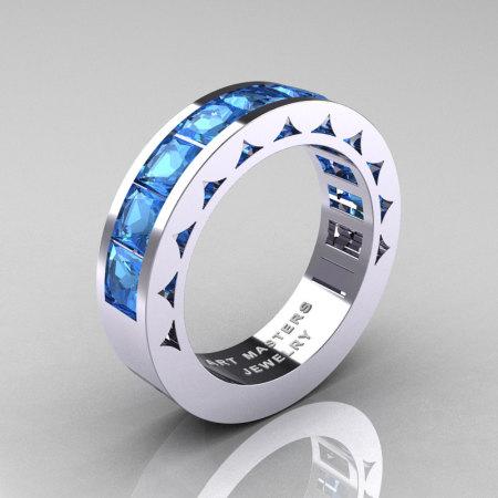 Mens Modern 14K White Gold Princess Blue Topaz Channel Cluster Sun Wedding Ring R274-14WGBT-1