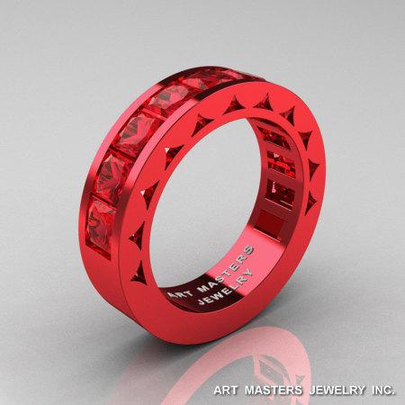 Mens Modern Italian 14K Red Gold Princess Rubies Channel Cluster Sun Wedding Ring R274-14REGR-1