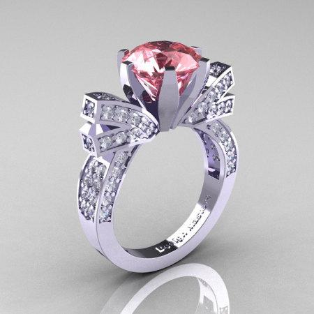 French 14K White Gold 3.0 CT Morganite Diamond Engagement Ring Wedding Ring R382-14KWGDMO-1