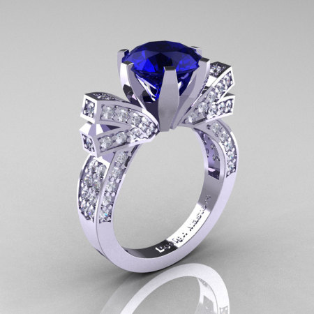 French 14K White Gold 3.0 CT Blue Sapphire Diamond Engagement Ring Wedding Ring R382-14KWGDBS-1