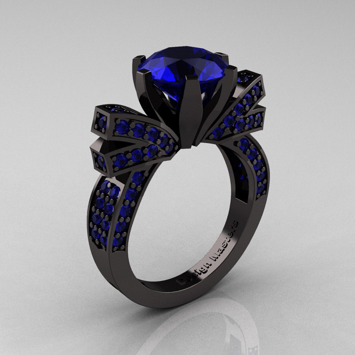 French 14K Black Gold 3 0 CT Blue Sapphire Engagement Ring Wedding Ring R382