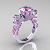 French 14K White Gold 3.0 CT Light Pink Sapphire Engagement Ring Wedding Ring R382-14KWGLPS-1