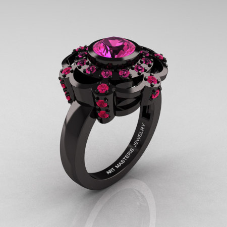 Art Masters Classic 14K Black Gold 1.0 Carat Pink Sapphire Engagement Ring R70M-14KBGPS-1