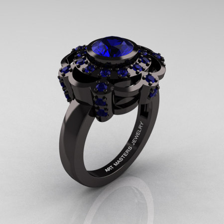 Art Masters Classic 14K Black Gold 1.0 Carat Blue Sapphire Engagement Ring R70M-14KBGBS-1