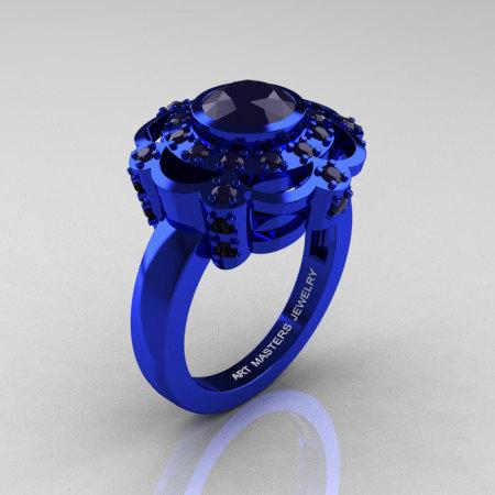 Art Masters Classic 14K Blue Gold 1.0 Carat Dark Blue Sapphire Engagement Ring R70M-14KBLGDBS-1