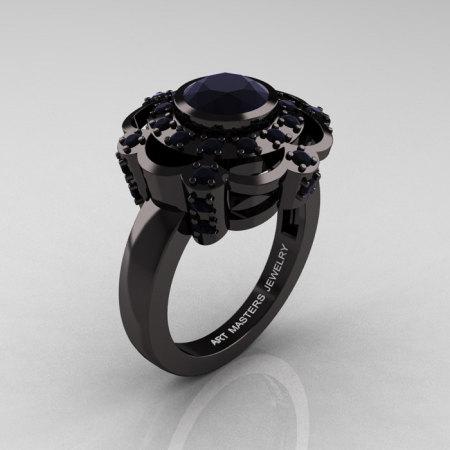 Art Masters Classic 14K Black Gold 1.0 Carat Black Diamond Engagement Ring R70M-14KBGBD-1