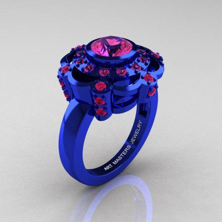 Art Masters Classic 14K Blue Gold 1.0 Carat Pink Sapphire Engagement Ring R70M-14KBLGPS-1
