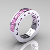 Mens Modern 14K White Gold Princess Light Pink Sapphire Channel Cluster Sun Wedding Ring R274-14WGLPS-1
