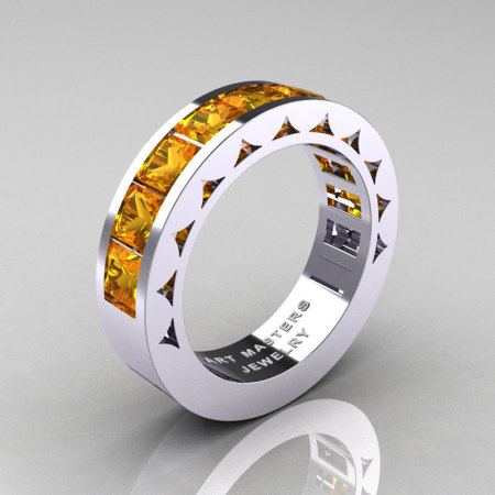 Mens Modern 14K White Gold Princess Citrine Channel Cluster Sun Wedding Ring R274-14WGCI-1