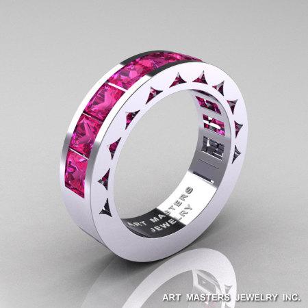 Mens Modern 14K White Gold Princess Pink Sapphire Channel Cluster Sun Wedding Ring R274-14WGPS-1