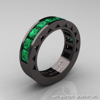 Mens Modern 14K Black Gold Princess Emerald Channel Cluster Sun Wedding Ring R274-14BGEM-1