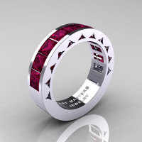 Mens Modern 14K White Gold Princess Red Garnet Channel Cluster Sun Wedding Ring R274-14WGRG-1
