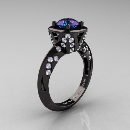 Classic French 14K Black Gold 1.0 Carat Chrysoberyl Alexandrite Diamond Engagement Ring Wedding RIng R502-14KBGDA-1