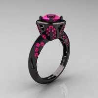 Classic French 14K Black Gold 1.0 Ct Pink Sapphire Engagement Ring Wedding Ring R502-14KBGPS-1