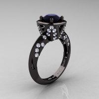 Classic French 14K Black Gold 1.0 Ct Black and White Diamond Engagement Ring Wedding RIng R502-14KBGDBD-1