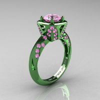 Classic French Military 14K Green Gold 1.0 Ct Light Pink Sapphire Engagement Ring Wedding Ring R502-14KGGLPS-1