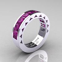 Mens Modern 14K White Gold Princess Amethyst Channel Cluster Sun Wedding Ring R274-14WGAM-1