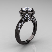 Classic French 14K Black Gold 1.0 Ct White Sapphire Diamond Engagement Ring Wedding RIng R502-14KBGDWS-1