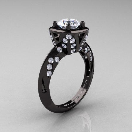 Classic French 14K Black Gold 1.0 Ct White Sapphire Diamond Engagement Ring Wedding RIng R502-14KBGDWS-1