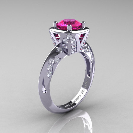 Classic French 14K White Gold 1.0 Carat Pink Sapphire Diamond Engagement Ring Wedding RIng R502-14KWGDPS-1