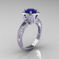 Classic French 14K White Gold 1.0 Carat Blue Sapphire Diamond Engagement Ring Wedding RIng R502-14KWGDBS-1