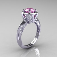 Classic French 14K White Gold 1.0 Carat Light Pink Sapphire Diamond Engagement Ring Wedding RIng R502-14KWGDLPS-1