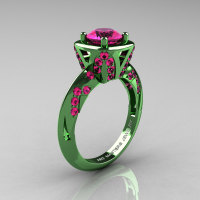Classic French Military 14K Green Gold 1.0 Ct Pink Sapphire Engagement Ring Wedding Ring R502-14KGGPS-1
