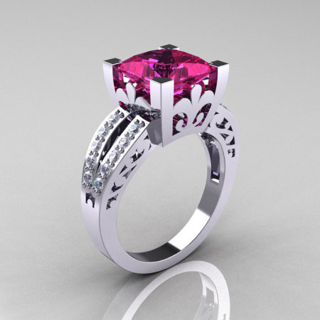 French Vintage 14K White Gold 3.8 Carat Princess Pink Sapphire Diamond Solitaire Ring R222-WGDPS-1