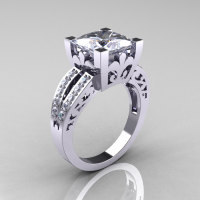 French Vintage 14K White Gold 3.8 Carat Princess Cubic Zirconia Diamond Solitaire Ring R222-WGDCZ-1