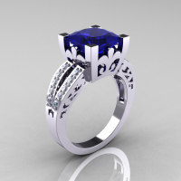 French Vintage 14K White Gold 3.8 Carat Princess Blue Sapphire Diamond Solitaire Ring R222-WGDBS-1