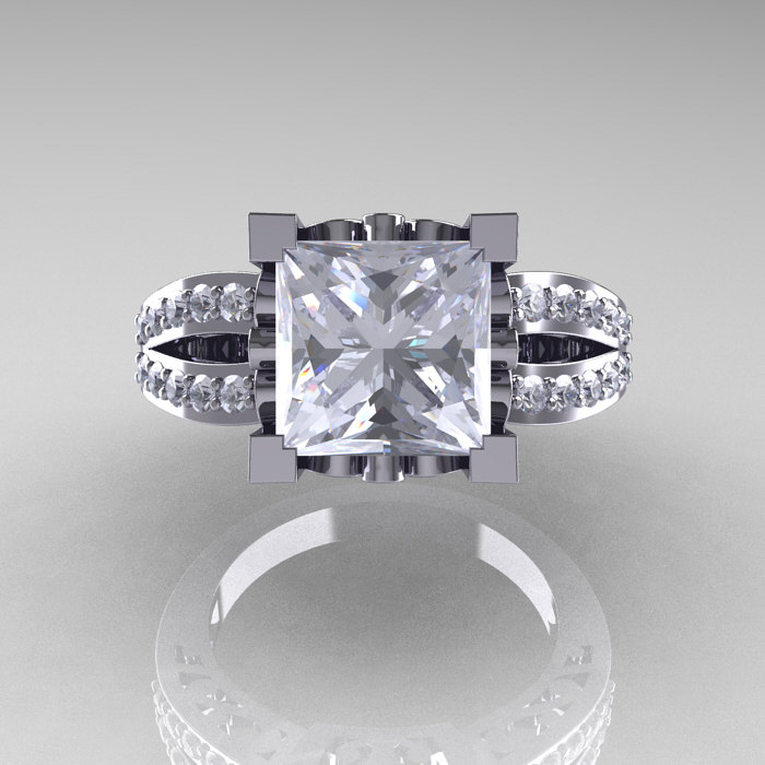 French Vintage 14k White Gold 3 8 Carat Princess Cubic