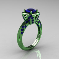 Classic French Military 14K Green Gold 1.0 Ct Blue Sapphire Engagement Ring Wedding Ring R502-14KGGBS-1
