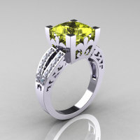 French Vintage 14K White Gold 3.8 Carat Princess Yellow Topaz Diamond Solitaire Ring R222-WGDYT-1