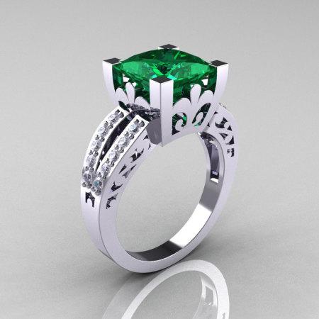 French Vintage 14K White Gold 3.8 Carat Princess Emerald Diamond Solitaire Ring R222-WGDEM-1