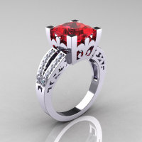 French Vintage 14K White Gold 3.8 Carat Princess Ruby Diamond Solitaire Ring R222-WGDR-1
