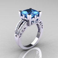 French Vintage 14K White Gold 3.8 Carat Princess Blue Topaz Diamond Solitaire Ring R222-WGDBT-1