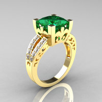 French Vintage 14K Yellow Gold 3.8 Carat Princess Emerald Diamond Solitaire Ring R222-YGDEM-1