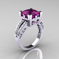 French Vintage 14K White Gold 3.8 Carat Princess Amethyst Diamond Solitaire Ring R222-WGDAM-1