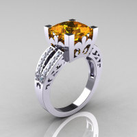 French Vintage 14K White Gold 3.8 Carat Princess Citrine Diamond Solitaire Ring R222-WGDCI-1
