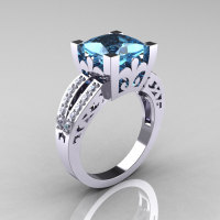 French Vintage 14K White Gold 3.8 Carat Princess Aquamarine Diamond Solitaire Ring R222-WGDAQ-1
