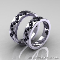 Classic Armenian 14K White Gold Black Diamond Wedding Band Set R504BS-14KWGBD-1