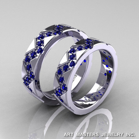 Classic Armenian 14K White Gold Blue Sapphire Wedding Band Set R504BS-14KWGBS-1