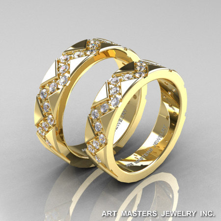 Classic Armenian 14K Yellow Gold Diamond Wedding Band Set R504BS-14KYGD-1