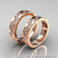 Classic Armenian 14K Rose Gold Diamond Wedding Band Set R504BS-14KRGD-1