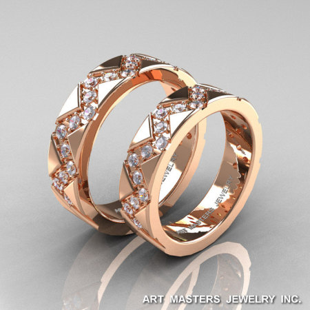 Classic Armenian 14K Rose Gold Diamond Wedding Band Set R504BS-14KRGD-1