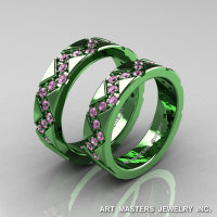 Classic Armenian Military 14K Green Gold Light Pink Sapphire Wedding Band Set R504BS-14KGGLPS-1